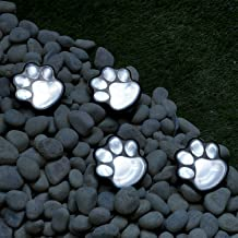 GloBrite Set of 4 LED Solar Powered Pet Paws Animal Prints Outdoor Lamp, Creative String Light Decorative Outdoor Lights for Patio, Yard, Garden - White LED