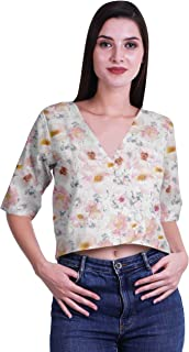 Moomaya Printed Cotton Top For Women V-Neck Crop Top Elbow Sleeve Summer Blouse T-shirt
