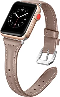 Secbolt Leather Bands Compatible Apple Watch Band 38mm 40mm Slim Replacement Wristband Sport Strap for Iwatch, Series 5 4 3 2 1, Edition Stainless Steel Buckle