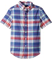 Polo Ralph Lauren Kids - Yarn-Dyed Madras Short Sleeve Button Down Top (Big Kids)