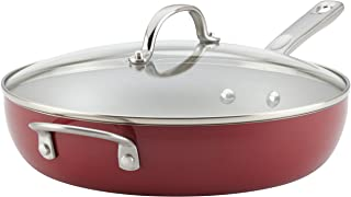 Ayesha Home Collection Porcelain Enamel Nonstick Covered Deep Skillet With Helper Handle, 12-Inch, Sienna Red, Small - 10748