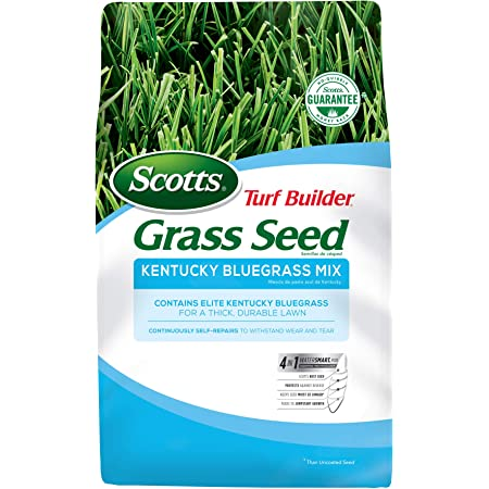 Scotts Turf Builder Grass Seed Kentucky Bluegrass Mix - 3 lb., Use in Full Sun, Light Shade, Fine Bladed Texture, and Medium Drought Resistance, Seeds up to 2,000 sq. ft.