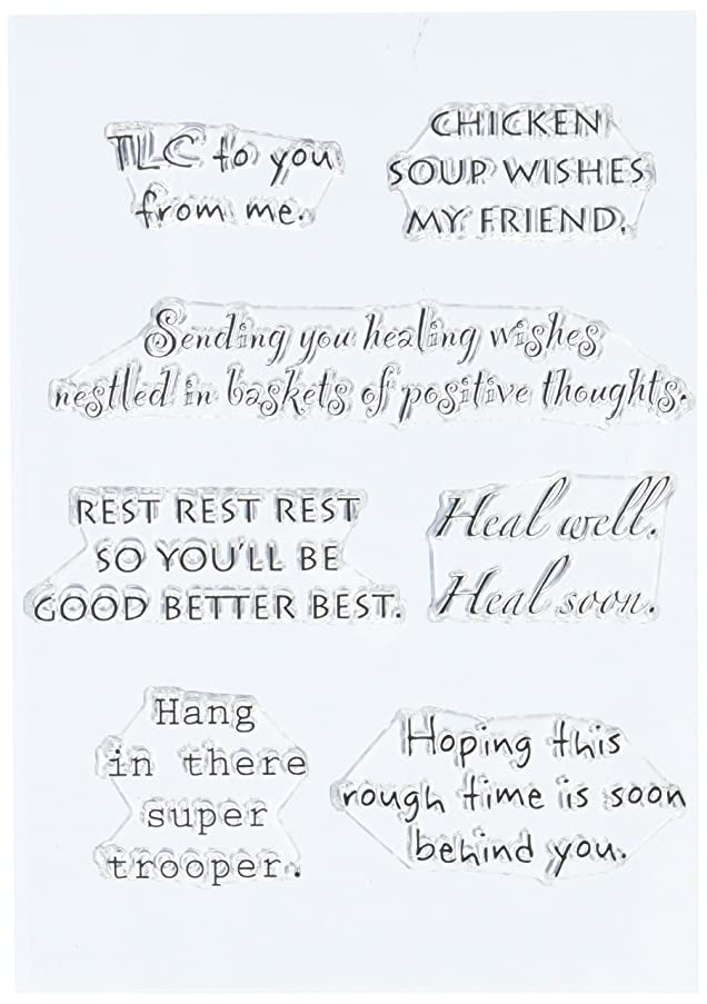 Stampers Anonymous Words to The Rescue Stamp Set, 8 by 4.5-Inch, Get Well, Clear