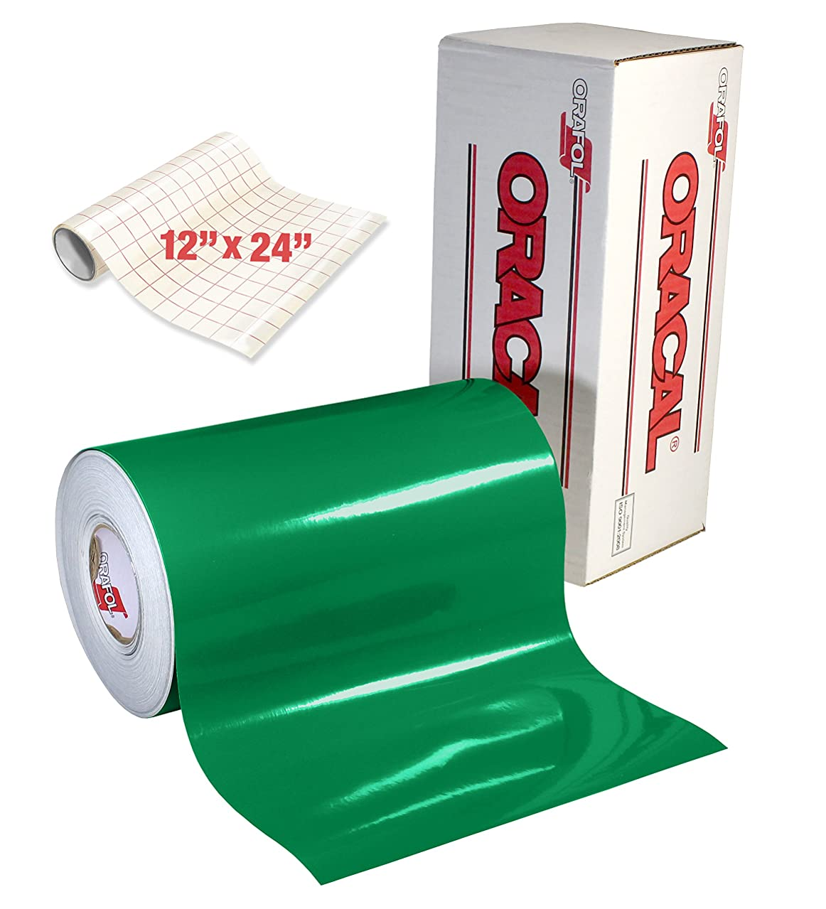 ORACAL 651 Gloss Green Adhesive Craft Vinyl for Cameo, Cricut & Silhouette Including Free Roll of Clear Transfer Paper (50ft x 12