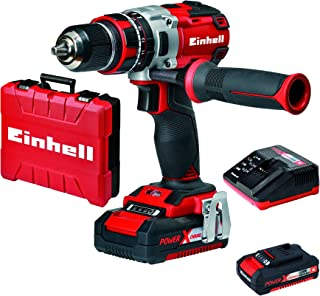 Einhell Expert Taladro percutor 18V sin cable brushless Power-X-Change (TE-CD 18 Li-i) con 2 baterías (2Ah), cargador y maletín (sin escobillas, 2 velocidades, 60 Nm, luz LED)