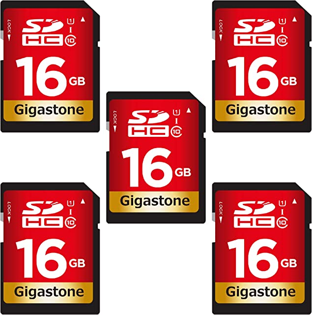 Gigastone Paquete de 5 Tarjeta SD 16GB UHS-I U1 Clase 10 Tarjeta de Memoria SDHC Video de Alta Velocidad Full HD Canon Nikon Sony Pentax Kodak Olympus Panasonic Cámara Digital