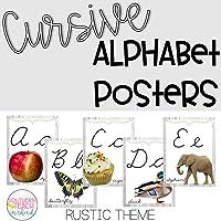 Cursive Alphabet Posters Rustic Farmhouse Theme