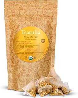 Teatulia Organic Chamomile Tea Premium Herbal Blend | 50 Corn Silk Pyramid Tea Bags, Naturally Caffeine-Fre...