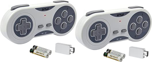 iMW Wireless Gaming Controller for NES and Super NES Classic Edition - Pack of 2, Grey
