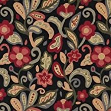A0023C Green Red Orange and Black Floral Contemporary Upholstery Fabric by The Yard