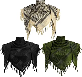 3 Pieces Cotton Shemagh Scarf Tactical Desert Scarf Tassel Keffiyeh 43 x 43 Inch