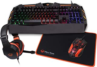 Meetion 4-in1 Colorful Backlit English/Arabic Wired Keyboard, Wired Mouse, Headphone & Mouse Pad PC Gaming Kit, C500