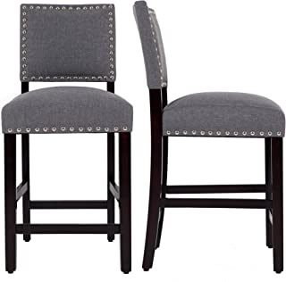 DAGONHIL 24 Inches Counter Height Bar Stools with Black Solid Wood Legs-Set of 2 (Gray)