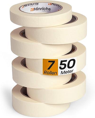 Hinrichs 7 x Ruban de Masquage Peinture - 6 Rouleaux de 50m x 30mm plus 1 Rouleau de 50m x 20 mm - Bande de Masquage ...