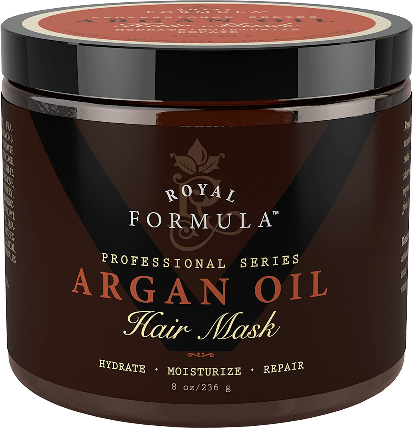 排除する重要性属するArgan Oil Hair Mask, 100% ORGANIC Argan & Almond Oils - Deep Conditioner, Hydrating Hair Treatment Therapy, Repair Dry Damaged, Color Treated & Bleached Hair - Hydrates & Stimulates Hair Growth, 8 Oz