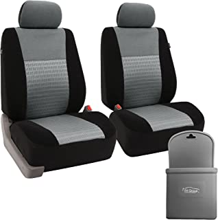 FH-FB060102 Trendy Elegance Car Seat Cover, Airbag & Split Ready w. FH3022 Silicone Steering Wheel Cover, Gray/Black Color - Fit Most Car, Truck, SUV, or Van