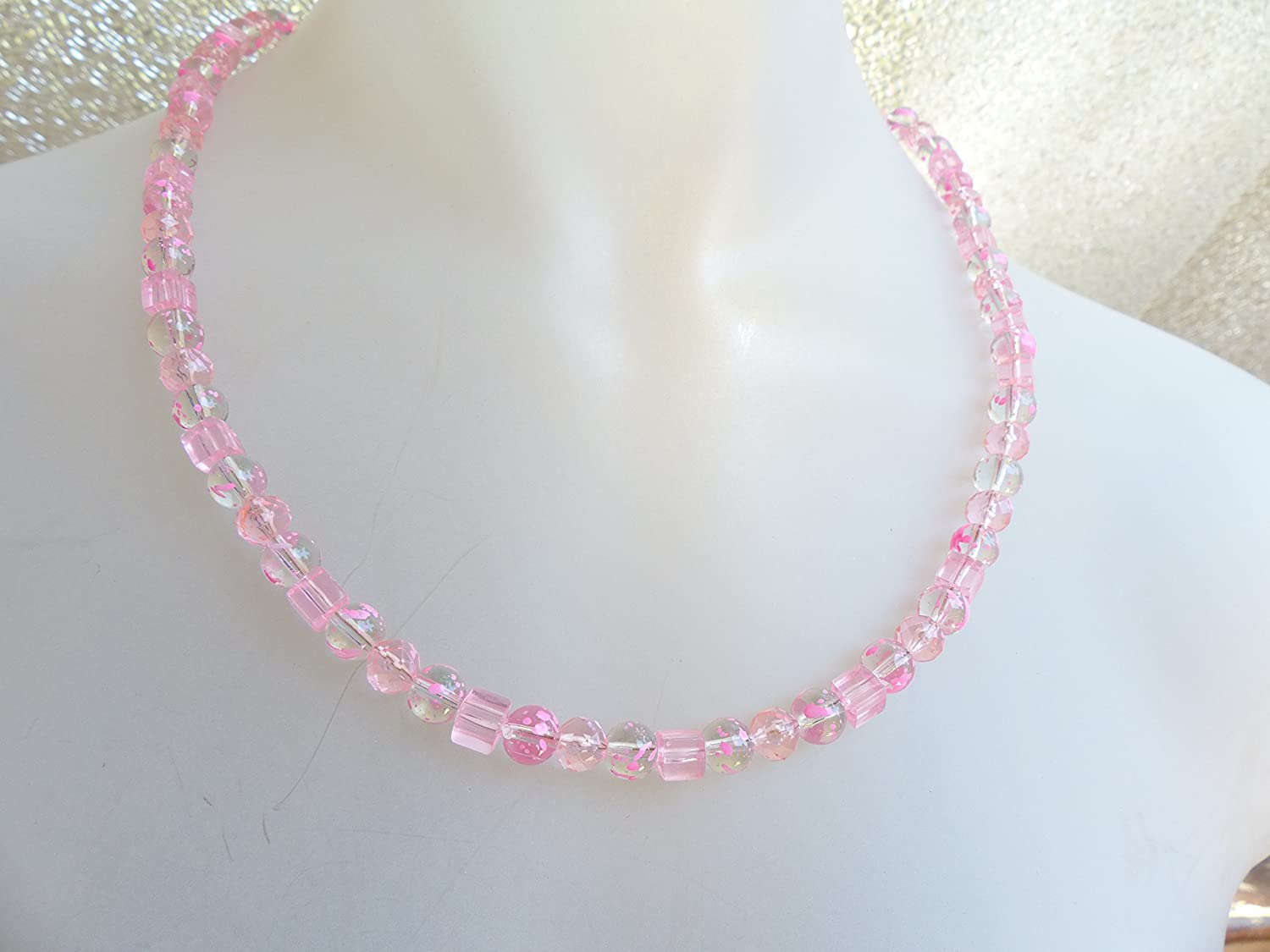 Clear pink Ranking TOP8 glass necklace bead Lowest price challenge