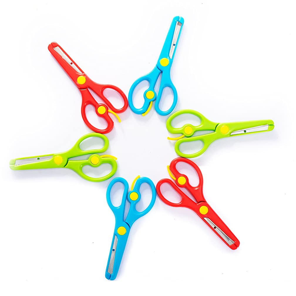Training Scissors for Kids, Preschool Children Safety Scissors Set - Safe Round Blunt Tip - Perfect for Developing Cutting Skills for Arts & Crafts and School - Assorted Colors -6-Pack