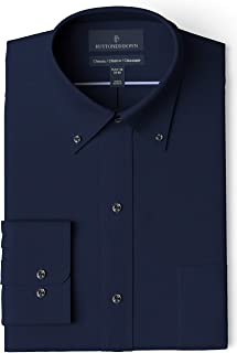 Amazon Brand - Buttoned Down Men's Classic-Fit Button Collar Solid Non-Iron Dress Shirt w/ Pocket Options, Supima Cotton Non-Iron