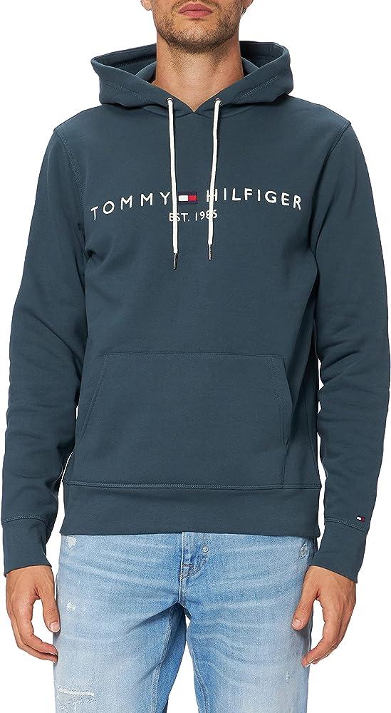 Tommy hilfiger tommy logo hoody felpa per uomo con cappuccio 70% cotone organico 30% poliestere MW0MW11599AE