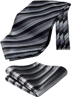 HISDERN Men's Cravat Tie Polka Dot Stripe Plaid Ascot Handkerchief Wedding Business Cravats & Pocket Square Set