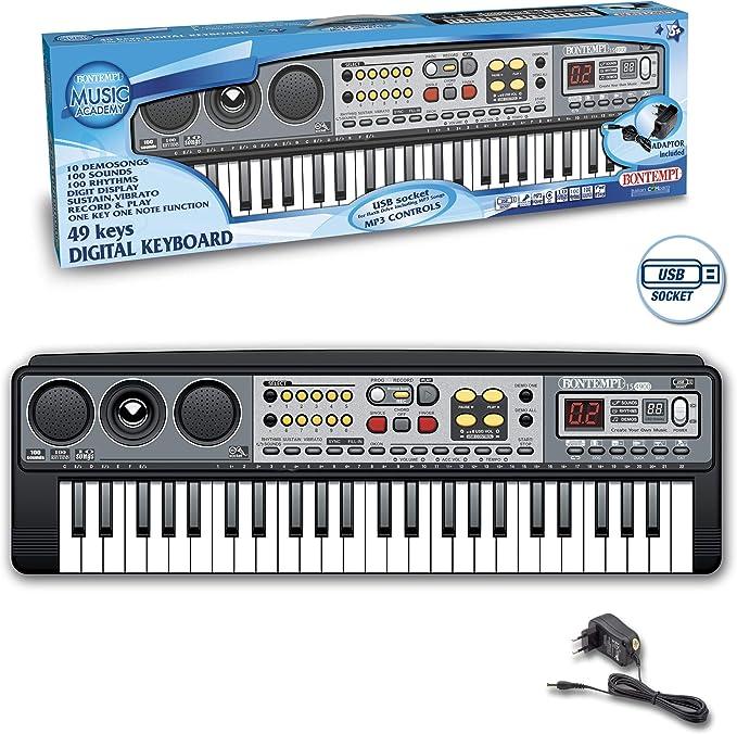 Bontempi- Organo ELECTRONICO 49 Teclas Adaptador Y Conector USB Sonidos 100 RITMOS con MP3 57X25X18CM, Multicolor (154900)