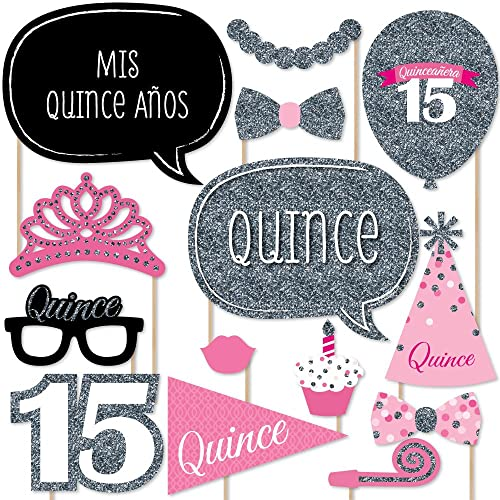 Big Dot of Happiness Quinceanera Pink - Sweet 15 - Birthday Party Photo Booth Props Kit