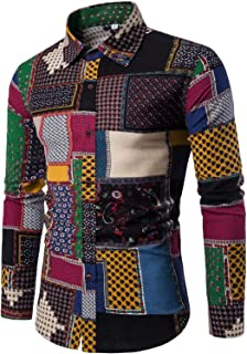 Men's Fashion Printed Long Sleeve Linen Button Down Shirt