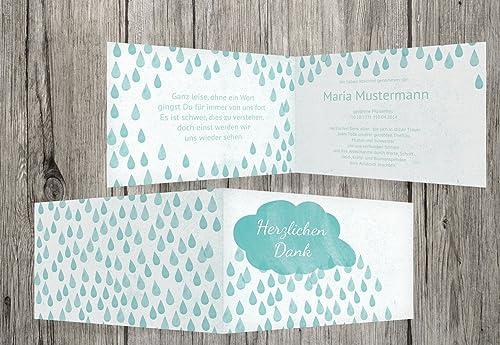 promocionales de incentivo Tarjetas de agradecimiento agradecimiento agradecimiento luto Lluvia, verde esmeralda, 100 Karten  Nuevos productos de artículos novedosos.