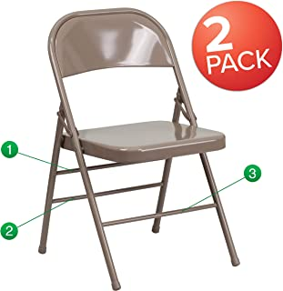 Flash Furniture 2 Pk. HERCULES Series Triple Braced & Double Hinged Beige Metal Folding Chair