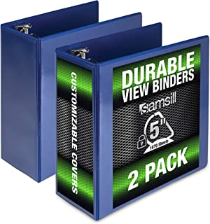 Samsill Durable 5 Inch Binder Blue D-Ring Binder/Customizable Clear View Binder/Bulk Binder 2 Pack/Blue 3 Ring Binder 5 inch
