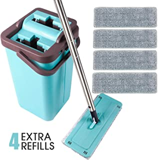 SUPSOO Microfiber Flat Mop with Bucket, Wet Dry Floor Squeeze Cleaning Hand Free, 4..