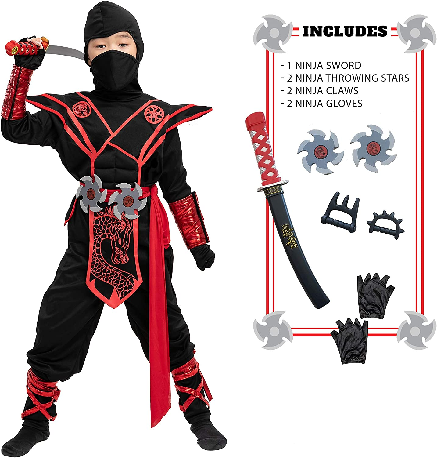 Ninja Dragon Red Costume OFFicial Outfit Set Up Luxury Dress Halloween kids for
