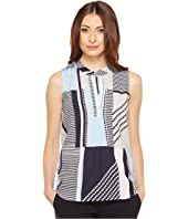 Calvin Klein - Sleeveless Printed Top with Collar