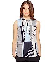 Calvin Klein - Sleeveless Printed Top with Collar