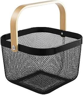 Storage Basket Metal Storage Basket with Wood Handle Organizer Bin Stackable Rustic Farmhouse Basket Bowl for Kitchen Pant...