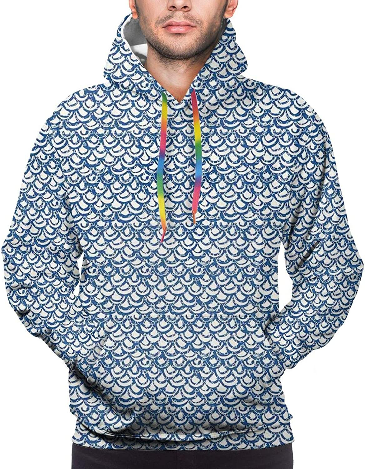 Men's Hoodies Sweatshirts,Hand Drawn Style Indonesian Batik Pattern with Curves and Small Triangles