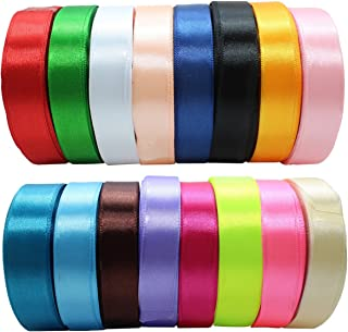 """JESEP 16 Rolls 400 Yards Solid Satin Fabric Ribbon Multi-Color Packing for Gift Package Wrapping Hair Bow Clips Accessories, Crafting, Sewing, Wedding, Decorator, etc (5/8"""" 15MM)"""