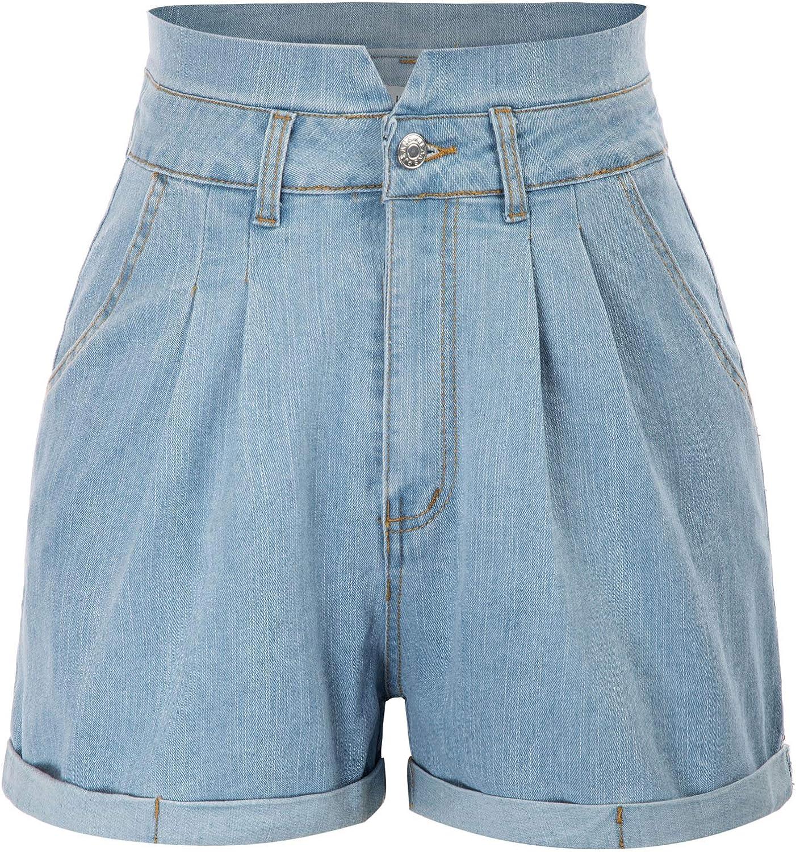 GRACE KARIN Women High Waist Rolled Hem Denim Jean Shorts with Pockets
