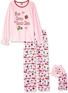 Dollie & Me Girls' Apparel Printed Long Sleeve Pajamas with Matching Doll Outfit