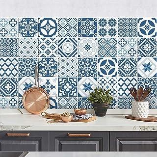Adesivi per Piastrelle Formato 10x10 cm Confezione 36 Pezzi PS00008 Black /& White Floreale Adesivi in PVC per Piastrelle per Bagno e Cucina Stickers Design Made in Italy