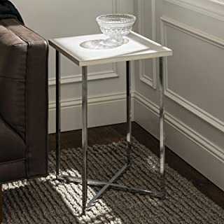 WE Furniture Modern Square Side End Accent Table Living Room, 16 Inch, White Marble, silver