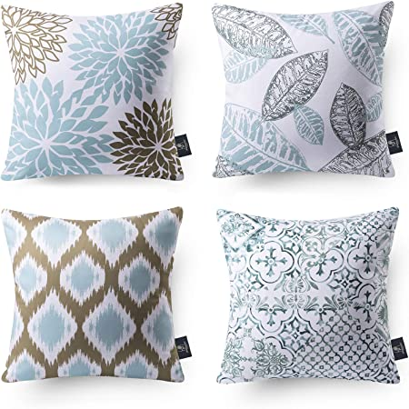 Amazon Com Hpuk Decorative Throw Pillow Covers Set Of 4 Geometric Design Linen Cushion Cover For Couch Sofa Living Room 17 X17 Inches Blue Home Kitchen