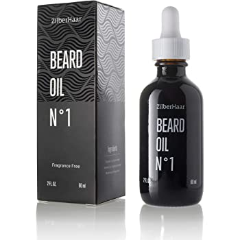 ZilberHaar Beard Oil №1 & Leave In Conditioner - Fragrance Free - 100% Pure Natural Organic Moroccan Argan Oil and American Jojoba Oil For Beards and Moustaches for Natural Growth and Hydration - 2 oz