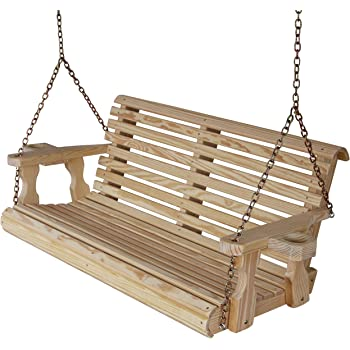 Amish Heavy Duty 800 Lb Roll Back 4ft. Treated Porch Swing with Cupholders