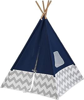 KidKraft 228 Deluxe Play Tipi tält för barn, 162 cm hög, för inomhus och utomhus – mörkblå och grå