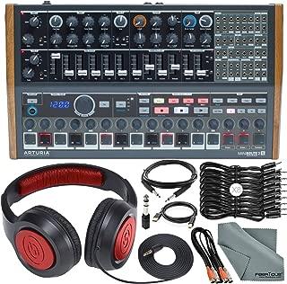 Arturia MINIBRUTE 2S Desktop Semi-Modular Analog Synthesizer/Sequencer w/MIDI & USB and Accessory Bundle with Headphones, 11X Cables, Fibertique Cloth