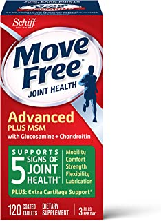 Glucosamine & Chondroitin Plus MSM Advanced Joint Health Supplement Tablets, Move Free (120 count in a bottle), Supports M...