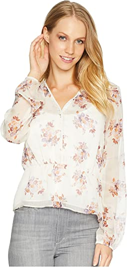 Long Sleeve Wildflower V-Neck Blouse w/ Peplum