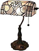 "Tiffany Style Table Lamp Banker 13"" Tall Stained Glass White Grey Vintage Antique Light Décor Nightstand Living Room Bedro..."